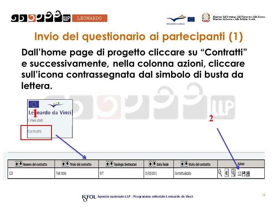 Invio del questionario ai partecipanti (1) Dallhome page di progetto cliccare su Contratti e successivamente, nella colonna azioni, cliccare sullicona