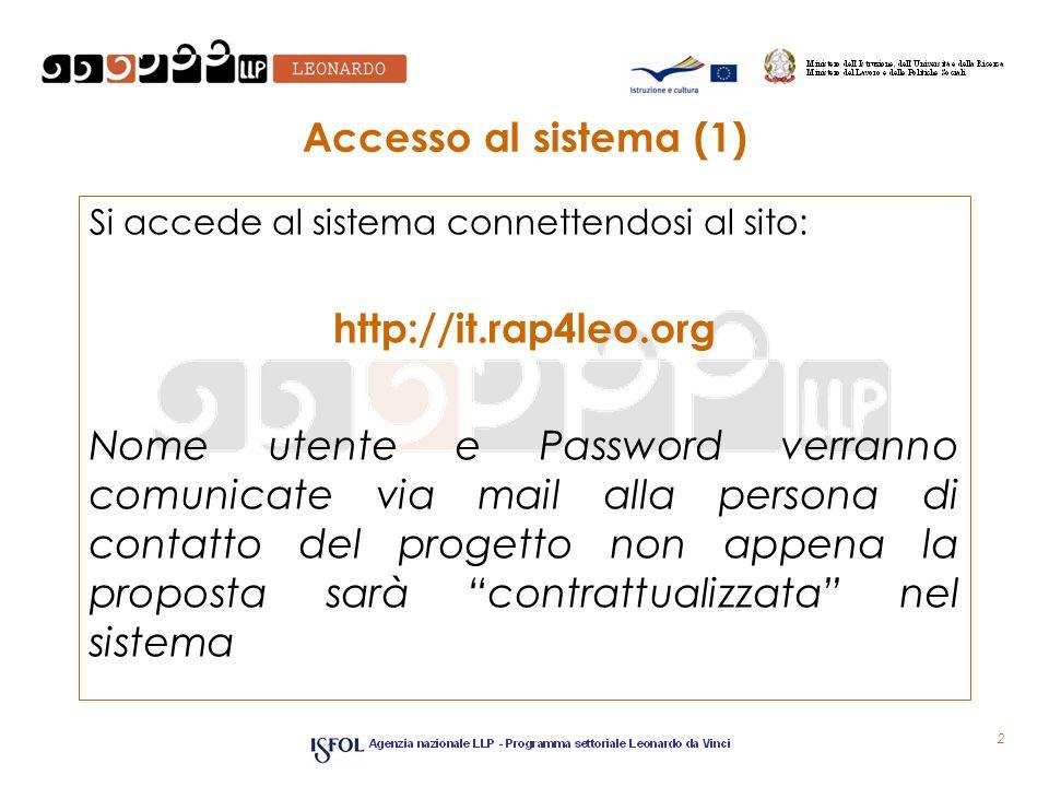 Accesso al sistema (1) Si accede al sistema connettendosi al sito: http://it.rap4leo.org Nome utente e Password verranno comunicate via mail alla pers