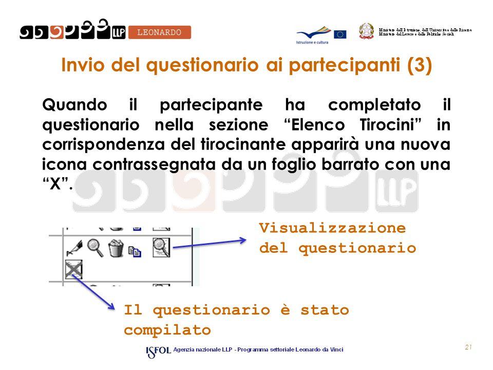 Invio del questionario ai partecipanti (3) Quando il partecipante ha completato il questionario nella sezione Elenco Tirocini in corrispondenza del ti