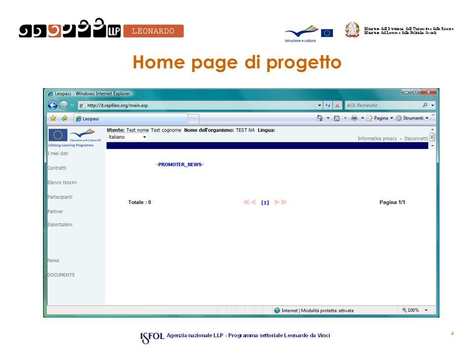 4 Home page di progetto