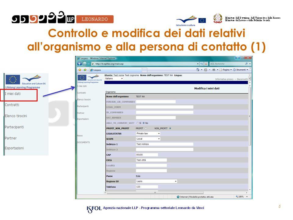 Controllo e modifica dei dati relativi allorganismo e alla persona di contatto (1) 5