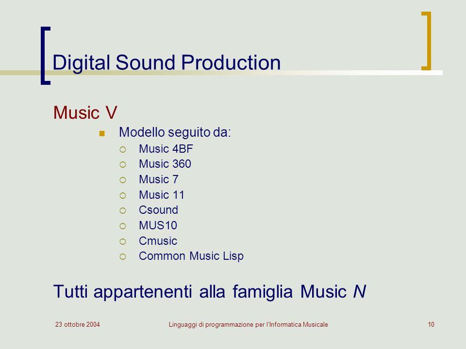 23 ottobre 2004Linguaggi di programmazione per lInformatica Musicale10 Digital Sound Production Music V Modello seguito da: Music 4BF Music 360 Music 7 Music 11 Csound MUS10 Cmusic Common Music Lisp Tutti appartenenti alla famiglia Music N