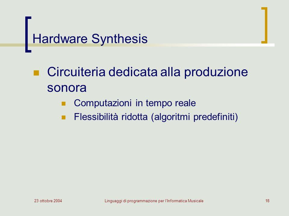 23 ottobre 2004Linguaggi di programmazione per lInformatica Musicale18 Hardware Synthesis Circuiteria dedicata alla produzione sonora Computazioni in tempo reale Flessibilità ridotta (algoritmi predefiniti)