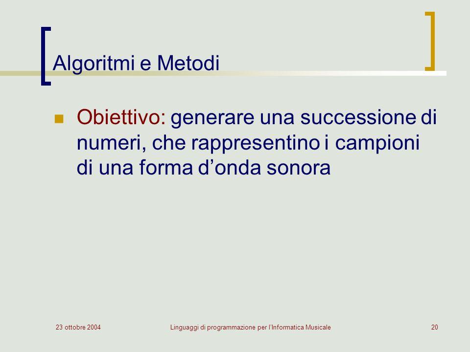 23 ottobre 2004Linguaggi di programmazione per lInformatica Musicale20 Algoritmi e Metodi Obiettivo: generare una successione di numeri, che rappresentino i campioni di una forma donda sonora
