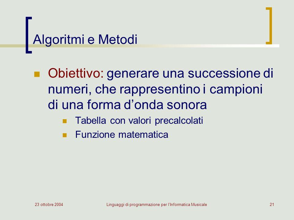 23 ottobre 2004Linguaggi di programmazione per lInformatica Musicale21 Algoritmi e Metodi Obiettivo: generare una successione di numeri, che rappresentino i campioni di una forma donda sonora Tabella con valori precalcolati Funzione matematica