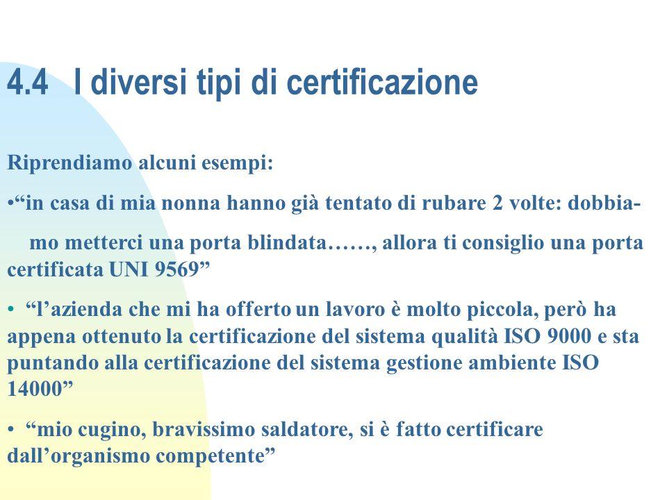4.4I diversi tipi di certificazione Riprendiamo alcuni esempi: in casa di mia nonna hanno già tentato di rubare 2 volte: dobbia- mo metterci una porta
