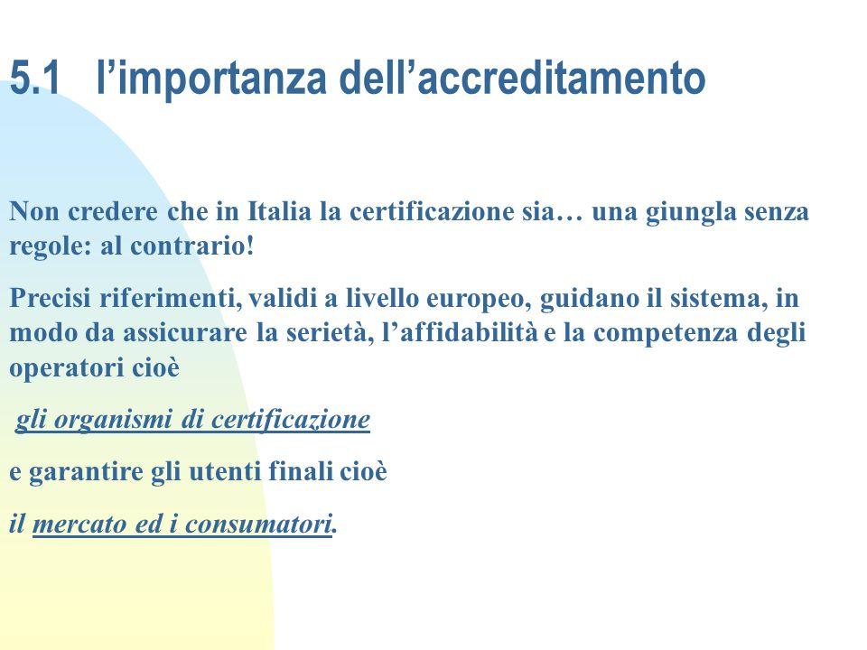 5.1 limportanza dellaccreditamento Non credere che in Italia la certificazione sia… una giungla senza regole: al contrario! Precisi riferimenti, valid