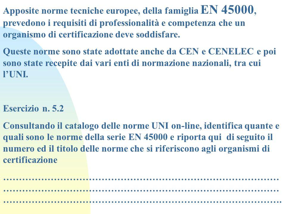 Apposite norme tecniche europee, della famiglia EN 45000, prevedono i requisiti di professionalità e competenza che un organismo di certificazione dev