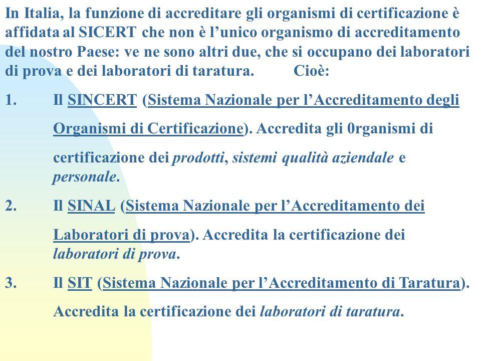 In Italia, la funzione di accreditare gli organismi di certificazione è affidata al SICERT che non è lunico organismo di accreditamento del nostro Pae
