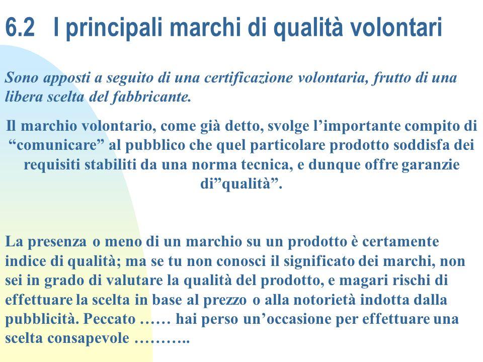 6.2I principali marchi di qualità volontari Sono apposti a seguito di una certificazione volontaria, frutto di una libera scelta del fabbricante. Il m