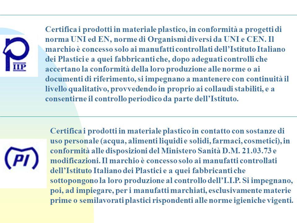 Certifica i prodotti in materiale plastico, in conformità a progetti di norma UNI ed EN, norme di Organismi diversi da UNI e CEN. Il marchio è concess