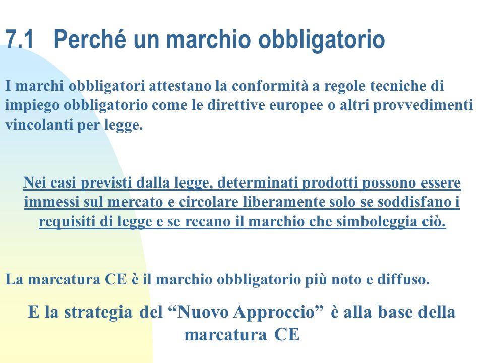 7.1Perché un marchio obbligatorio I marchi obbligatori attestano la conformità a regole tecniche di impiego obbligatorio come le direttive europee o a