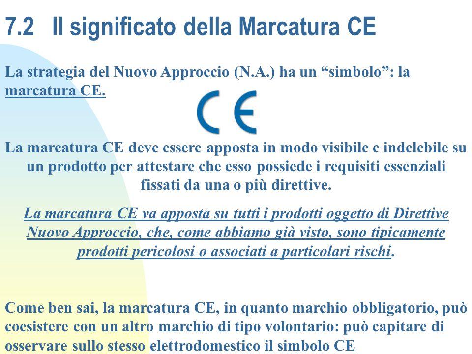 7.2Il significato della Marcatura CE La strategia del Nuovo Approccio (N.A.) ha un simbolo: la marcatura CE. La marcatura CE deve essere apposta in mo