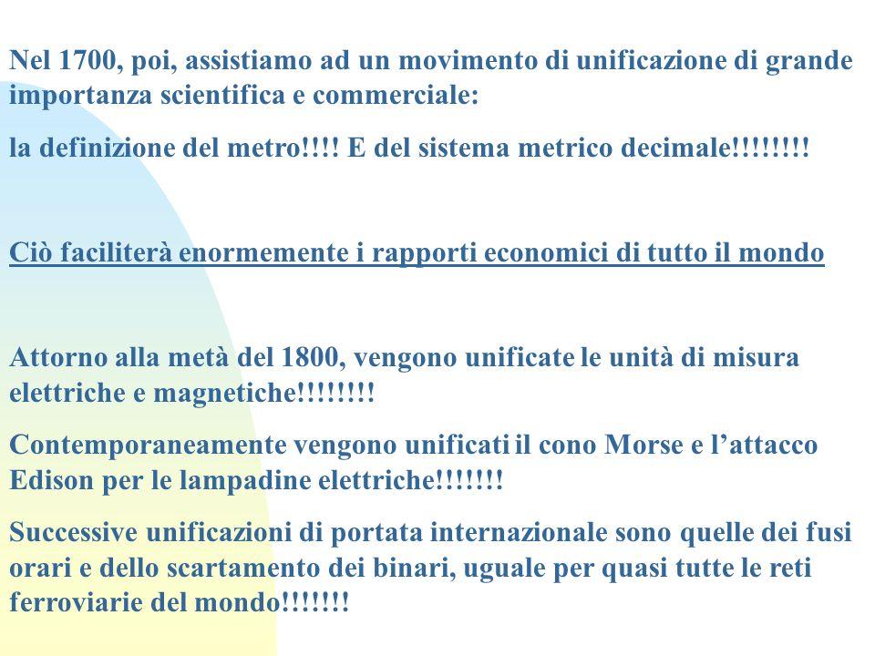 Nel 1700, poi, assistiamo ad un movimento di unificazione di grande importanza scientifica e commerciale: la definizione del metro!!!! E del sistema m