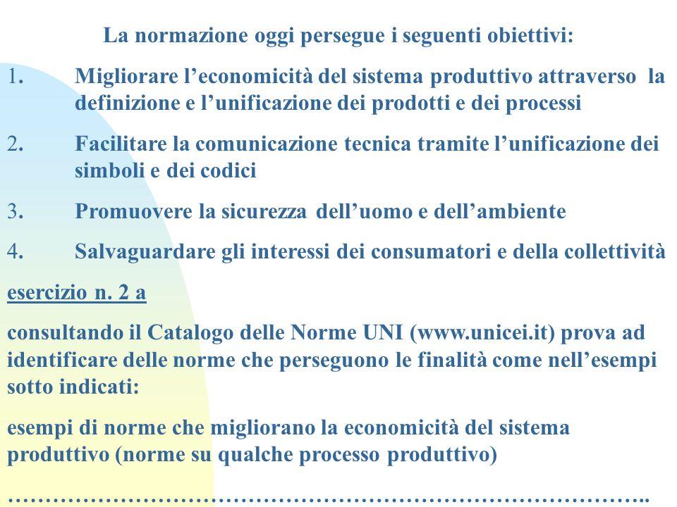 La normazione oggi persegue i seguenti obiettivi: 1. Migliorare leconomicità del sistema produttivo attraverso la definizione e lunificazione dei prod