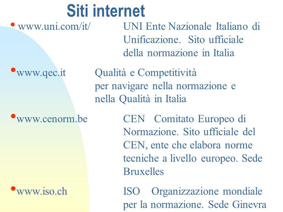 Siti internet www.uni.com/it/UNI Ente Nazionale Italiano di Unificazione. Sito ufficiale della normazione in Italia www.qec.itQualità e Competitività