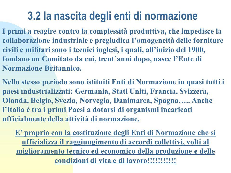 3.2 la nascita degli enti di normazione I primi a reagire contro la complessità produttiva, che impedisce la collaborazione industriale e pregiudica l