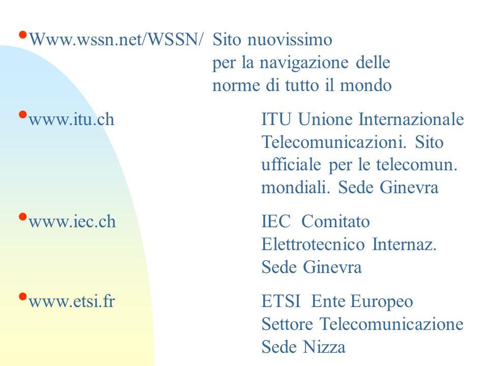 Www.wssn.net/WSSN/ Sito nuovissimo per la navigazione delle norme di tutto il mondo www.itu.chITU Unione Internazionale Telecomunicazioni. Sito uffici