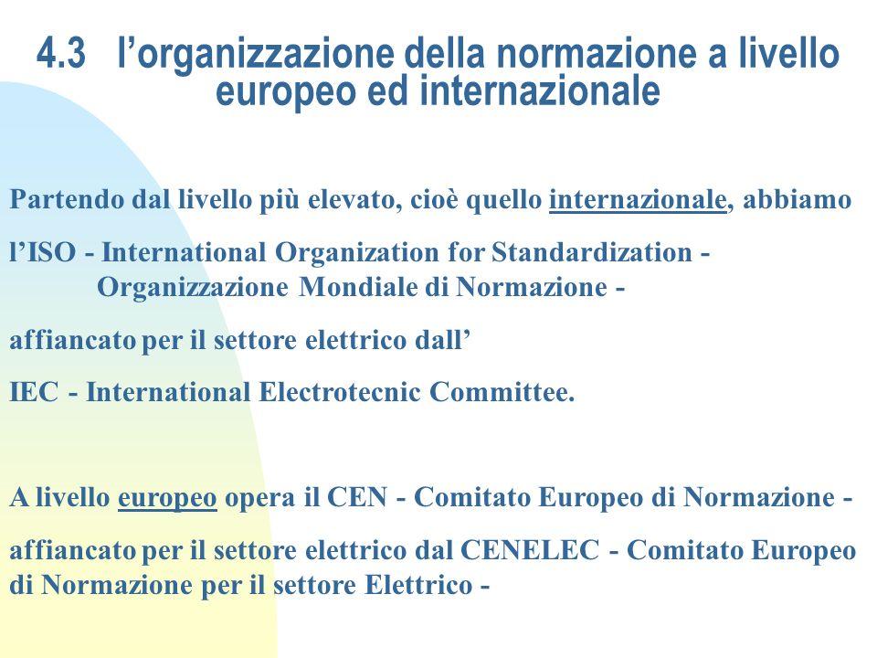 4.3 lorganizzazione della normazione a livello europeo ed internazionale Partendo dal livello più elevato, cioè quello internazionale, abbiamo lISO -
