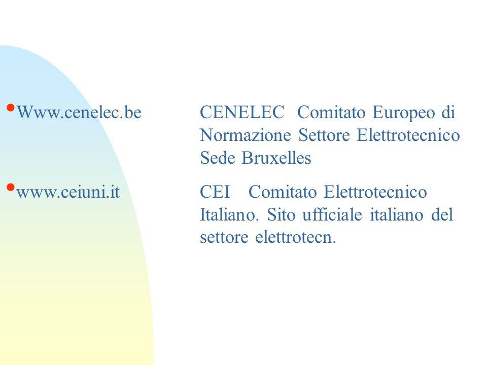 Www.cenelec.beCENELECComitato Europeo di Normazione Settore Elettrotecnico Sede Bruxelles www.ceiuni.itCEIComitato Elettrotecnico Italiano. Sito uffic