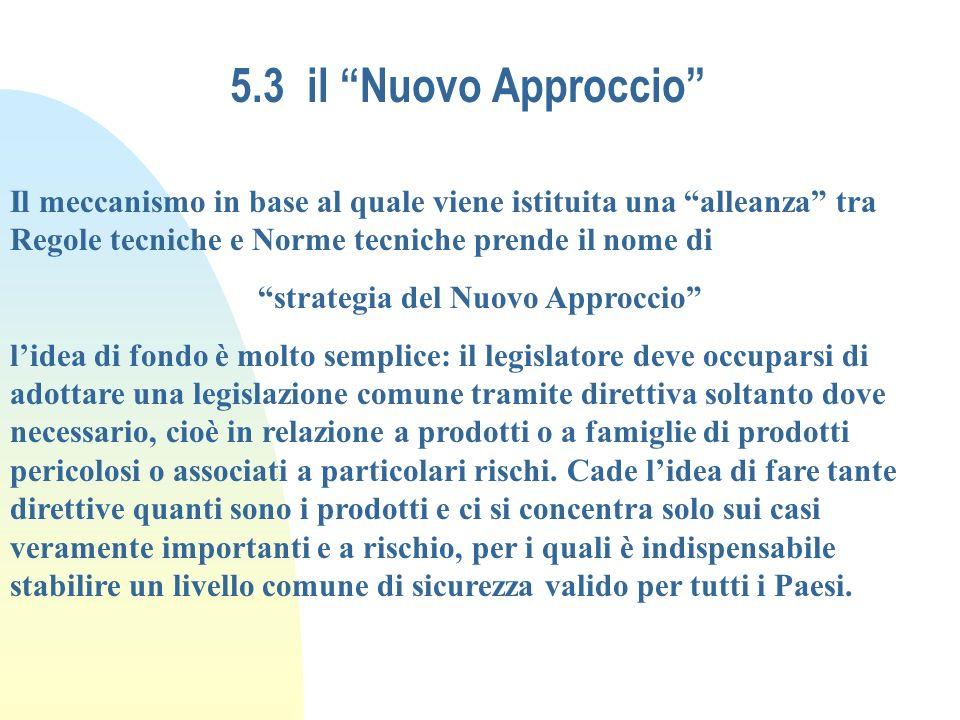 5.3 il Nuovo Approccio Il meccanismo in base al quale viene istituita una alleanza tra Regole tecniche e Norme tecniche prende il nome di strategia de