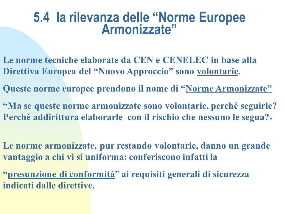 5.4 la rilevanza delle Norme Europee Armonizzate Le norme tecniche elaborate da CEN e CENELEC in base alla Direttiva Europea del Nuovo Approccio sono