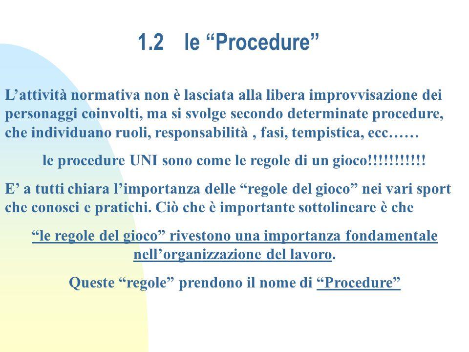 1.2le Procedure Lattività normativa non è lasciata alla libera improvvisazione dei personaggi coinvolti, ma si svolge secondo determinate procedure, c