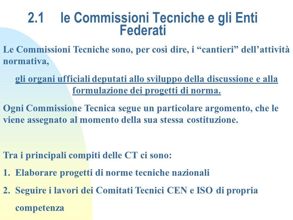 2.1 le Commissioni Tecniche e gli Enti Federati Le Commissioni Tecniche sono, per così dire, i cantieri dellattività normativa, gli organi ufficiali d