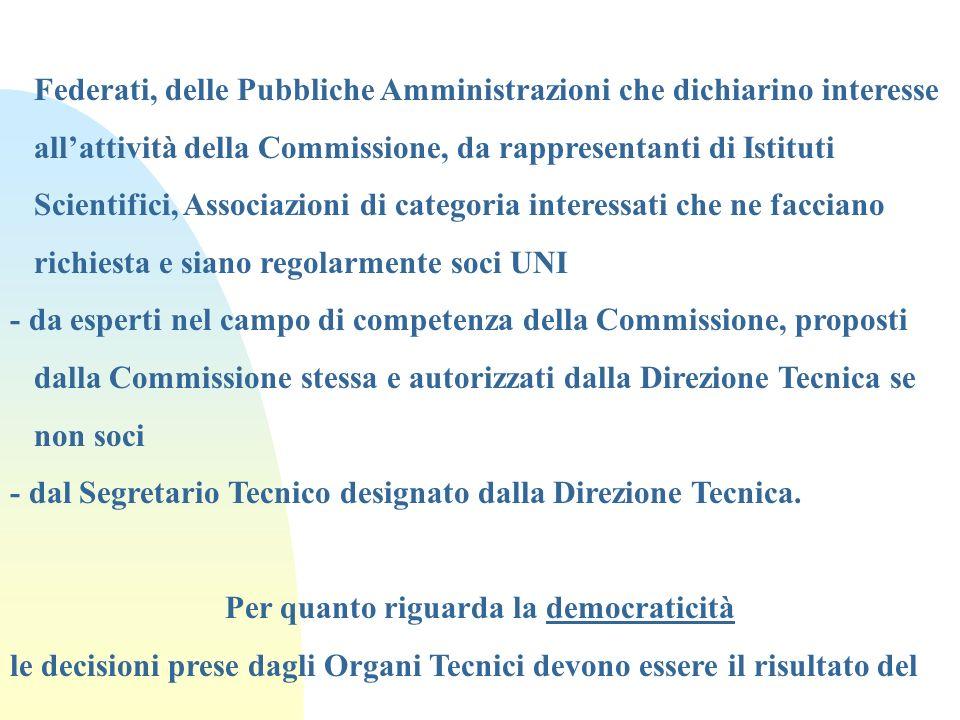 Federati, delle Pubbliche Amministrazioni che dichiarino interesse allattività della Commissione, da rappresentanti di Istituti Scientifici, Associazi