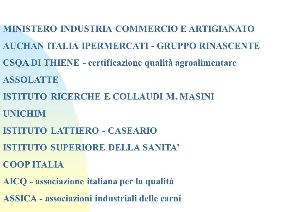 MINISTERO INDUSTRIA COMMERCIO E ARTIGIANATO AUCHAN ITALIA IPERMERCATI - GRUPPO RINASCENTE CSQA DI THIENE - certificazione qualità agroalimentare ASSOL