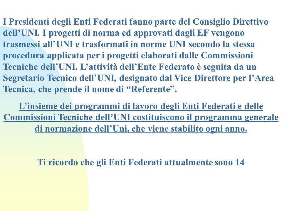 I Presidenti degli Enti Federati fanno parte del Consiglio Direttivo dellUNI. I progetti di norma ed approvati dagli EF vengono trasmessi allUNI e tra