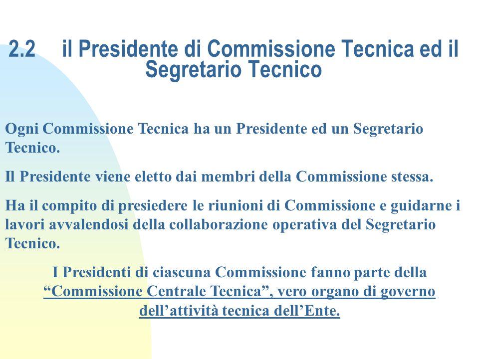 2.2 il Presidente di Commissione Tecnica ed il Segretario Tecnico Ogni Commissione Tecnica ha un Presidente ed un Segretario Tecnico. Il Presidente vi