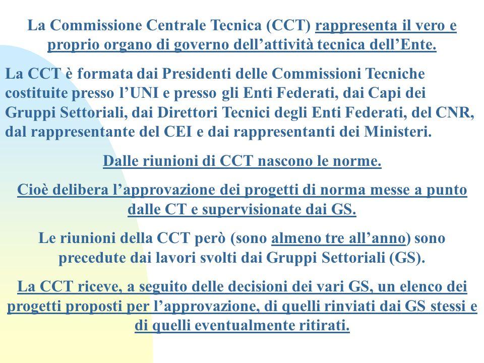 La Commissione Centrale Tecnica (CCT) rappresenta il vero e proprio organo di governo dellattività tecnica dellEnte. La CCT è formata dai Presidenti d