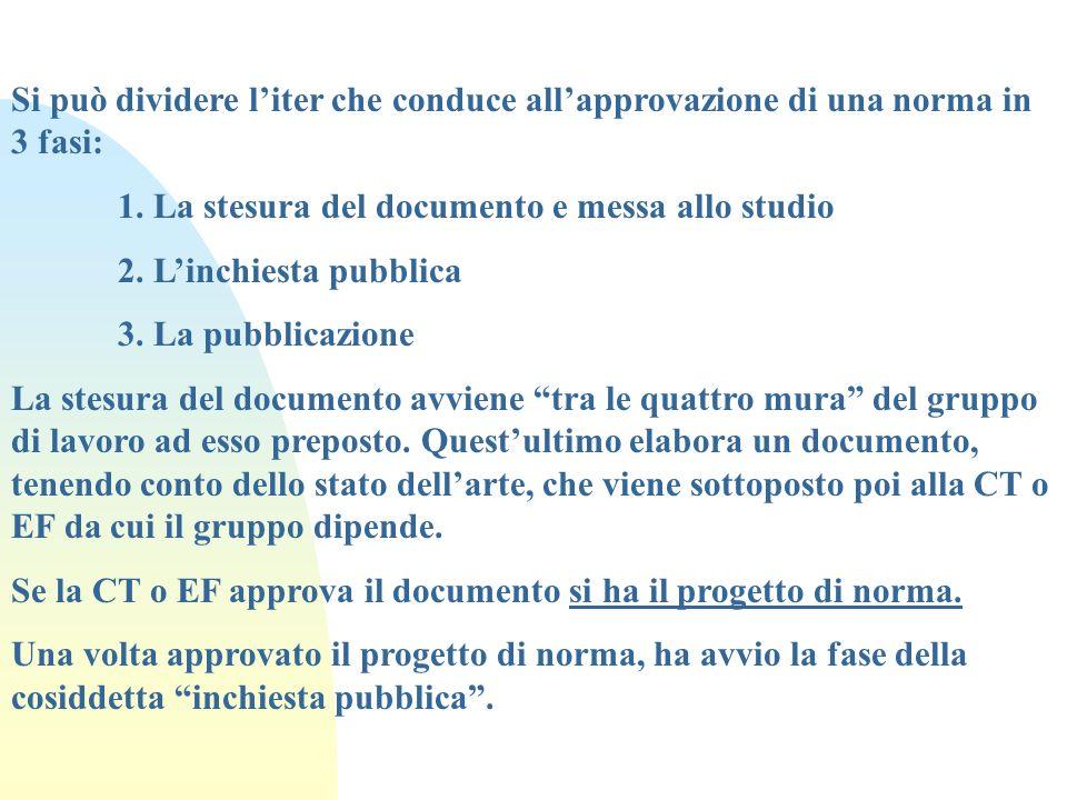 Si può dividere liter che conduce allapprovazione di una norma in 3 fasi: 1. La stesura del documento e messa allo studio 2. Linchiesta pubblica 3. La