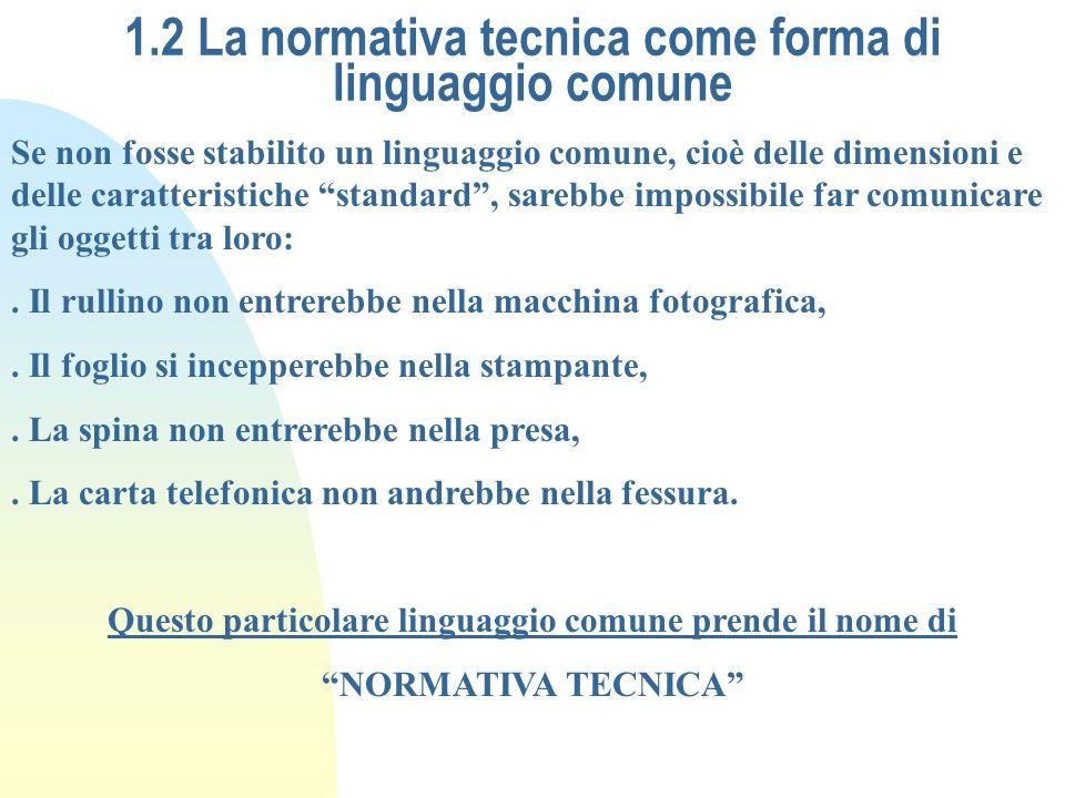 1.2 La normativa tecnica come forma di linguaggio comune Se non fosse stabilito un linguaggio comune, cioè delle dimensioni e delle caratteristiche st