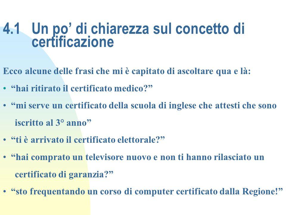 4.1Un po di chiarezza sul concetto di certificazione Ecco alcune delle frasi che mi è capitato di ascoltare qua e là: hai ritirato il certificato medi