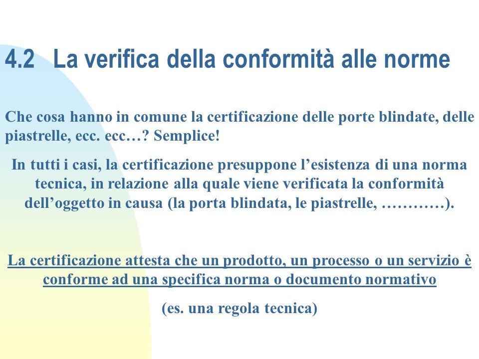 4.2La verifica della conformità alle norme Che cosa hanno in comune la certificazione delle porte blindate, delle piastrelle, ecc. ecc…? Semplice! In