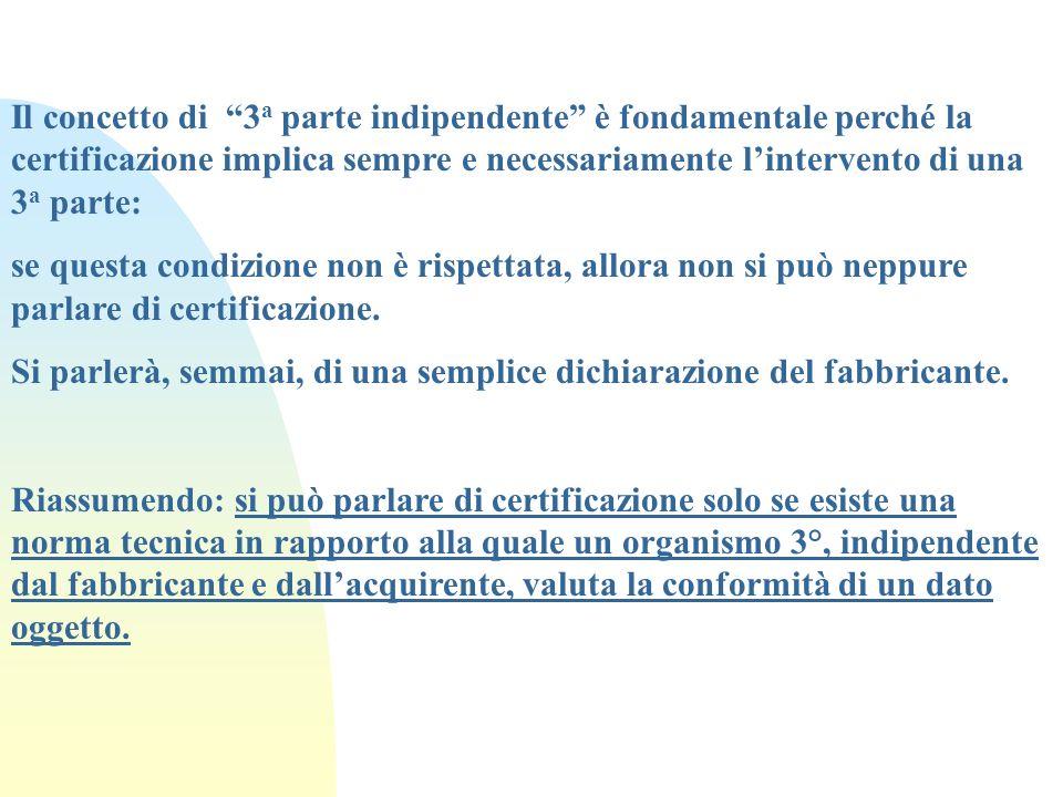 Il concetto di 3 a parte indipendente è fondamentale perché la certificazione implica sempre e necessariamente lintervento di una 3 a parte: se questa
