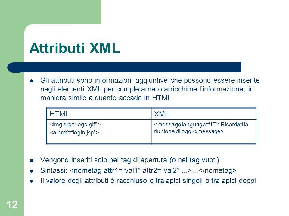 12 Attributi XML Gli attributi sono informazioni aggiuntive che possono essere inserite negli elementi XML per completarne o arricchirne linformazione, in maniera simile a quanto accade in HTML Vengono inseriti solo nei tag di apertura (o nei tag vuoti) Sintassi:...