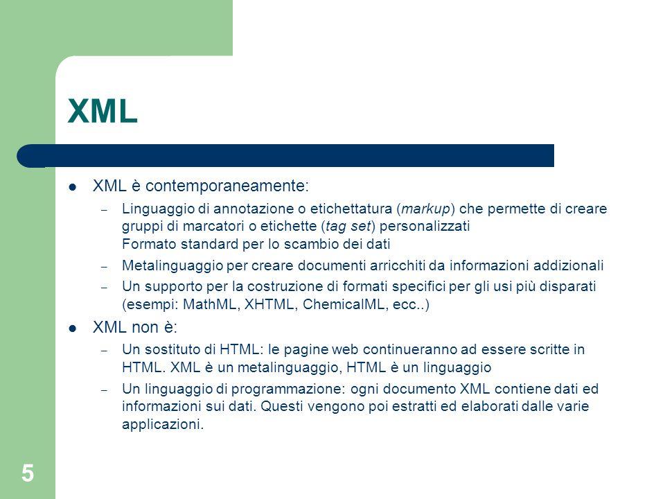 16 Regole sintattiche (2) Ogni documento XML deve avere uno ed un solo elemento radice CorrettoScorretti Luca Carlo Appuntamento … Luca Carlo Appuntamento …..