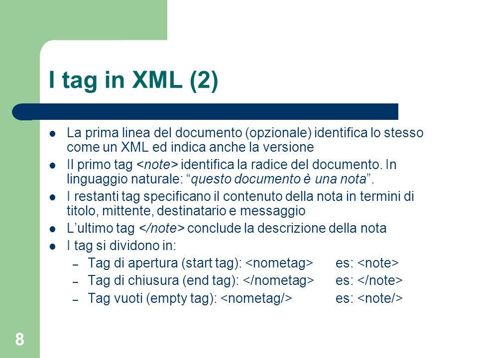 19 CDATA E possibile introdurre del testo in modo che questo non venga elaborato dal parser XML, ma venga semplicemente restituito allutente Ciò è utile per evitare errori di parsing anche quando il contenuto potrebbe essere interpretato come codice XML <![CDATA [ Questo testo non viene elaborato e non è un tag ]]>