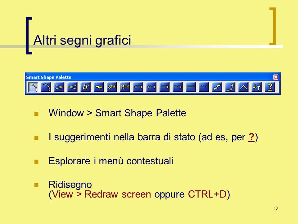 10 Altri segni grafici Window > Smart Shape Palette I suggerimenti nella barra di stato (ad es, per ?) Esplorare i menù contestuali Ridisegno (View >