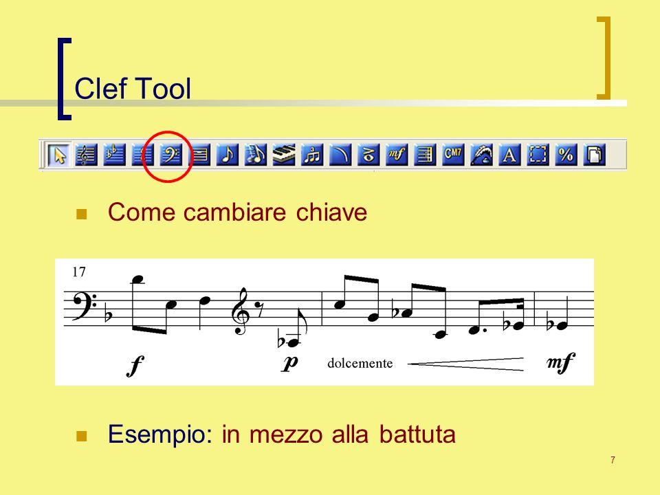 7 Clef Tool Come cambiare chiave Esempio: in mezzo alla battuta