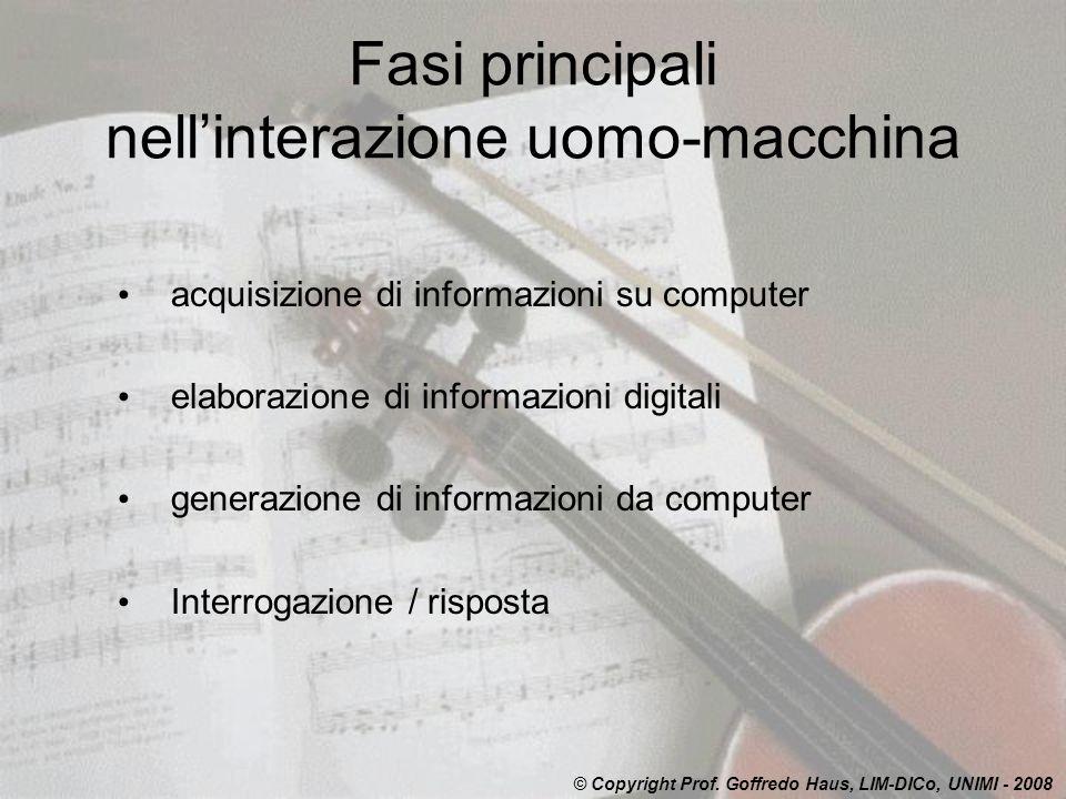 Fasi principali nellinterazione uomo-macchina acquisizione di informazioni su computer elaborazione di informazioni digitali generazione di informazio