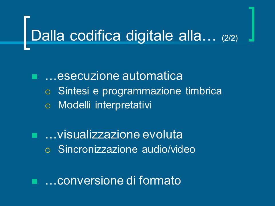 Dalla codifica digitale alla… (2/2) …esecuzione automatica Sintesi e programmazione timbrica Modelli interpretativi …visualizzazione evoluta Sincroniz