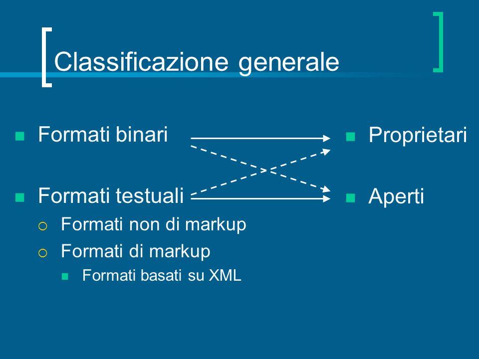 Classificazione generale Formati binari Formati testuali Formati non di markup Formati di markup Formati basati su XML Proprietari Aperti