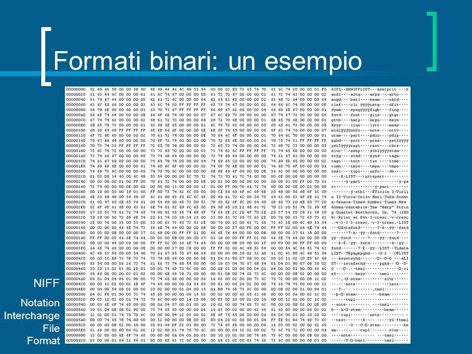 Formati binari: un esempio NIFF Notation Interchange File Format