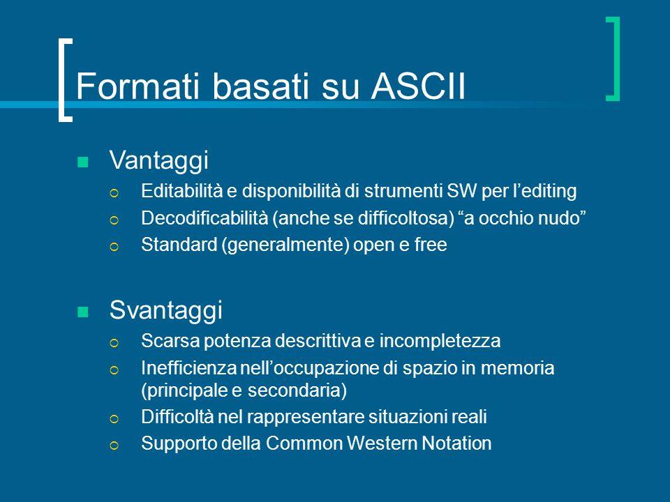 Formati basati su ASCII Vantaggi Editabilità e disponibilità di strumenti SW per lediting Decodificabilità (anche se difficoltosa) a occhio nudo Stand