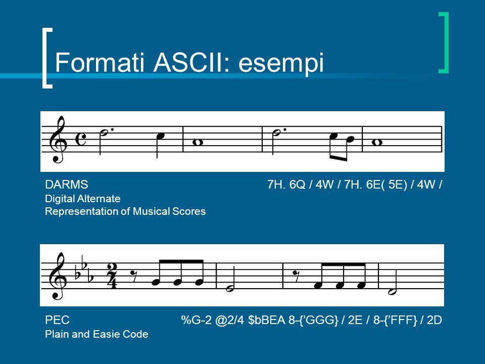 Formati ASCII: esempi DARMS 7H. 6Q / 4W / 7H. 6E( 5E) / 4W / Digital Alternate Representation of Musical Scores PEC %G-2 @2/4 $bBEA 8-{GGG} / 2E / 8-{