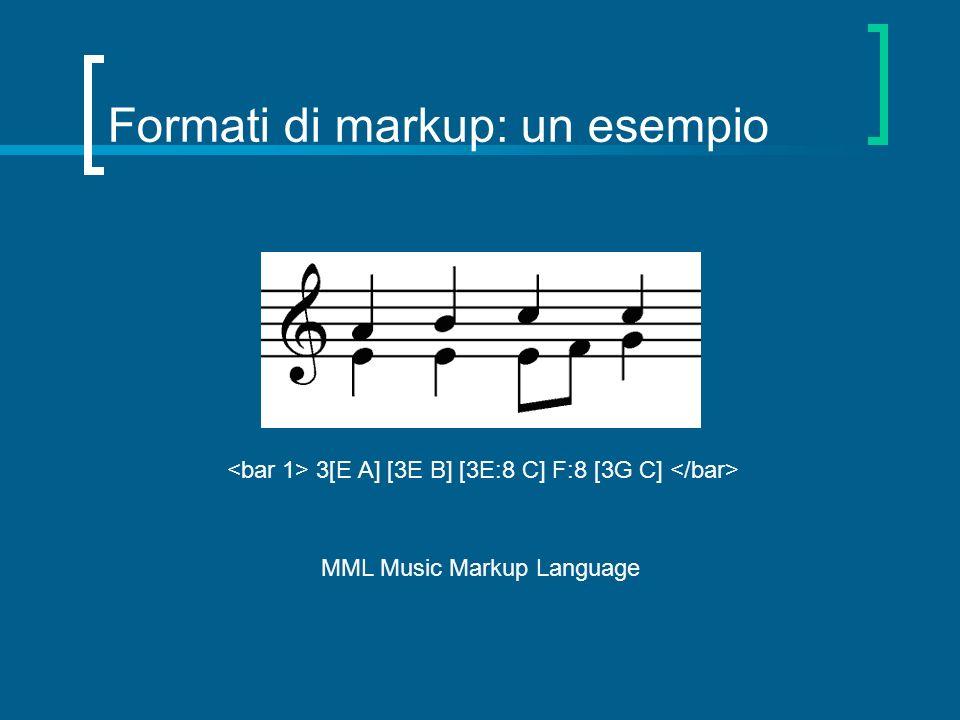 Formati di markup: un esempio 3[E A] [3E B] [3E:8 C] F:8 [3G C] MML Music Markup Language
